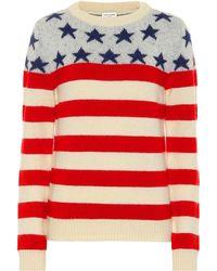 Saint Laurent American Flag Intarsia Wool Blend Sweater - Red