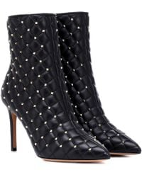 Valentino - Rockstud Spike Quilted Patent Booties - Lyst