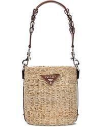 Prada Raffia And Leather Bucket Bag - Natural
