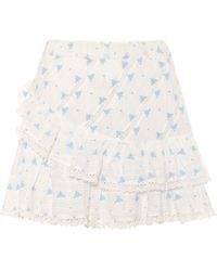 LoveShackFancy Exclusivo en Mytheresa – minifalda Emma de algodón floral - Blanco