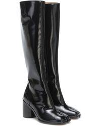 Maison Margiela Tabi Leather Knee-high Boots - Black