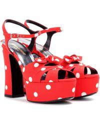 Saint Laurent | Candy 80 Bow Platform Sandals | Lyst
