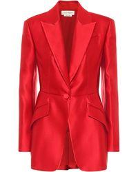 Alexander McQueen Blazer de satén de seda - Rojo