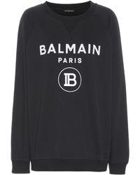 Balmain Bedrucktes Sweatshirt aus Baumwolle - Schwarz