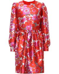 MSGM Floral Brocade Minidress - Red