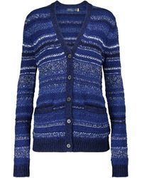 Polo Ralph Lauren Striped Wool-blend Cardigan - Blue