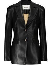 Nanushka Hathi Faux Leather Blazer - Black