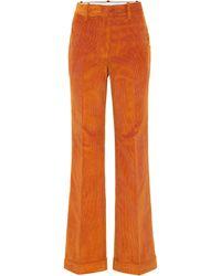 Victoria Beckham Hose aus Baumwollcord - Orange