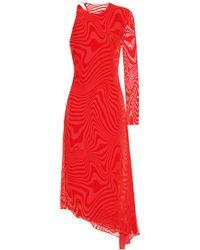Marine Serre Devoré Velvet Midi Dress - Red