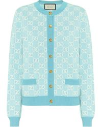 Gucci Intarsia Wool And Cotton-blend Cardigan - Pink