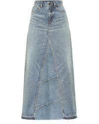 Saint Laurent Denim Midi Skirt - Blue