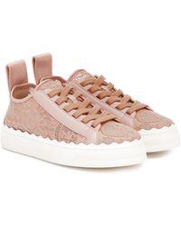 Chloé Exclusivo en Mytheresa – zapatillas Lauren con encaje - Rosa