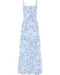 Heidi Klein Langkawi Floral Cotton Maxi Dress - Blue
