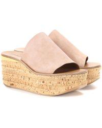 Chloé - Camille Suede Platform Sandals - Lyst