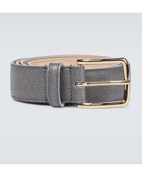 Thom Browne Cinturón de piel granulada - Gris