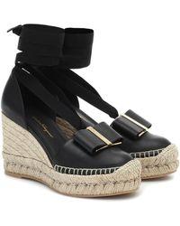 Ferragamo Garanio Leather Wedge Espadrilles - Black
