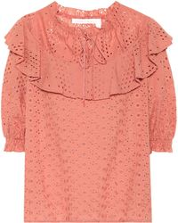 See By Chloé Cotton Eyelet Top - Pink