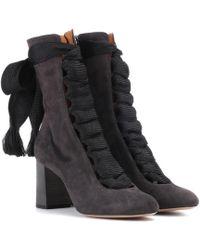 Chloé Ankle Boots Harper aus Veloursleder - Schwarz