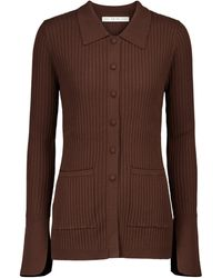 Live The Process Tuxedo Ribbed-knit Cardigan - Brown