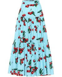 Dolce & Gabbana Exclusive To Mytheresa – Cherry Printed Cotton Maxi Skirt - Blue