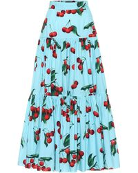 93a075374 Exclusivo en Mytheresa – falda larga de algodón estampada - Azul