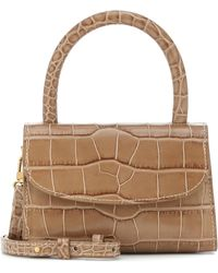 BY FAR Mini Croc-effect Leather Tote - Natural