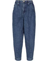 FRAME Jean raccourci Pleated Barrel Leg - Bleu