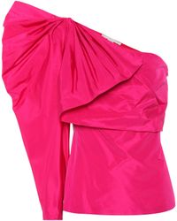 Stella McCartney One-Shoulder-Top aus einem Seidengemisch - Pink