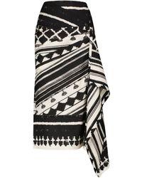 Johanna Ortiz Prehistoric Origin Printed Wrap Skirt - Black