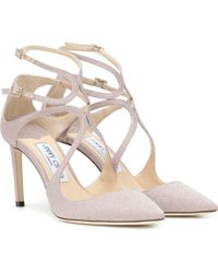 Jimmy Choo Lancer 85 Glitter Court Shoes - Pink