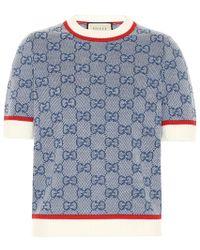 Gucci Top in lana e cotone - Blu