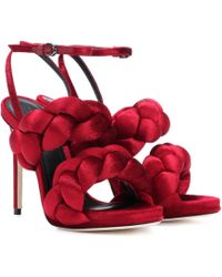 Marco De Vincenzo Velvet Sandals - Red