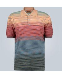 Missoni Striped Knitted Cotton Polo Shirt - Multicolor