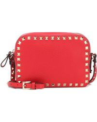 Valentino Rockstud Leather Cross Body Bag - Red