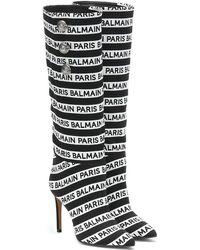 Balmain Stivali in maglia con logo - Nero
