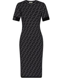 Fendi Ff Knit Midi Dress - Grey