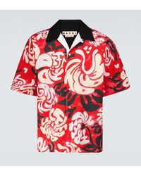 Marni Bedrucktes Kurzarmhemd aus Baumwolle - Rot