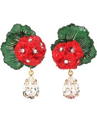 Dolce & Gabbana Floral Clip-on Drop Earrings - Red