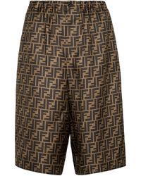 Fendi Ff Silk Shorts - Brown