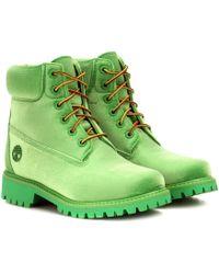 Off-White c/o Virgil Abloh X Timberland Velvet Ankle Boots - Green