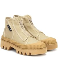 Proenza Schouler Lug Sole Canvas Ankle Boots - Natural