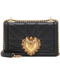Dolce & Gabbana Medium Devotion Crossbody Bag In Quilted Velvet - Weiß