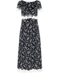 Miu Miu Vestido floral con detalle de encaje - Negro