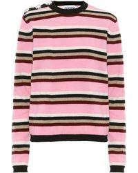 Ganni Embellished Striped Cashmere Sweater - Pink