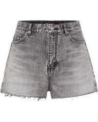Saint Laurent Denim Mini Shorts - Gray