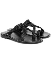 Loewe Paula's Ibiza Leather Sandals - Black