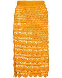 Acne Studios Falda midi de croché de algodón - Naranja