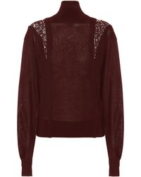 Chloé Wool And Silk Turtleneck Jumper - Red