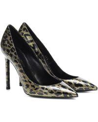Saint Laurent Anja Leopard Glitter Diamond Heels - Black