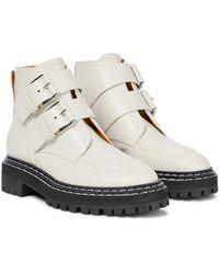 Proenza Schouler Leather Biker Boots - White